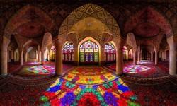 An interior view of Nasir al-Molk Mosque in Shiraz, southern Iran