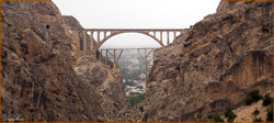 Photo depicts the Veresk Bridge, a masonry arch railroad bridge in northern Iran. The 66-metre-long structure was nicknamed as that bridge of victory during World War II.
