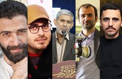 (L to R) This combination photo shows graphic designer Mohammadreza Doostmohammadi, filmmaker Mohammad-Hossein Mahdavian, writer Hamid Hesam, documentarian Mehdi Naqavian, and painter Hassan Ruholamin