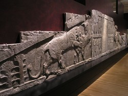 A file photo depicts a massive Persepolis bas-relief carving on show at the Room 5 of the British Museum, London.