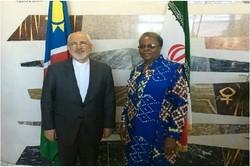 ظريف يلتقي وزيرة العلاقات الدولية في ناميبيا