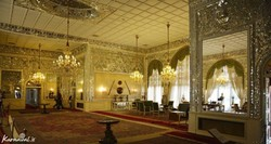 An interior view of the Sahebqaraniyeh Palace in northern Tehran.