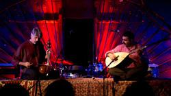 World-renowned Iranian kamancheh virtuoso Kayhan Kalhor (L) and Turkish baglama master Erdal Erzincan perform in an undated photo.