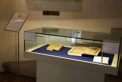 Two rare copies of Persian poet Sadi's Gulistan and Bustan are on display in an exhibition at the Royal Library of the Niavaran Cultural Historical Complex in Tehran on April 21, 2108.