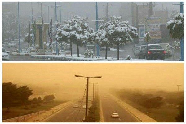 دوگانه های بهاری در آذربایجان غربی/ جدال گرد و غبارو برف در آسمان