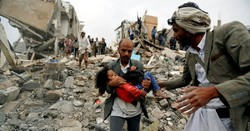 A man carries Buthaina Muhammad Mansour, believed to be 4 or 5, rescued from the site an air strike that killed eight of her family members in Sanaa, Yemen. Credit Khaled Abdullah/Reuters