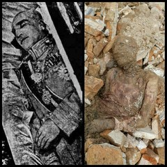 A combination photo which went viral on social media depicts Reza Shah Pahlavi and a mummy which is said to be found during construction work at a shrine near Tehran on April 23, 2018.