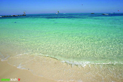 A view of a beach in Kish Island in the Persian Gulf