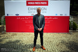 World Press Photo coordinator Laurens Korteweg attends a press conference at the Niavaran Cultural Center in Tehran on May 7, 2018 to brief the media about an exhibition arranged by the organization f