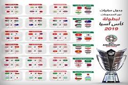 مواعيد مباريات كأس آسيا 2019