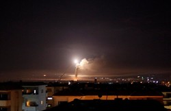 Missile fire is seen from Damascus, Syria May 10, 2018.