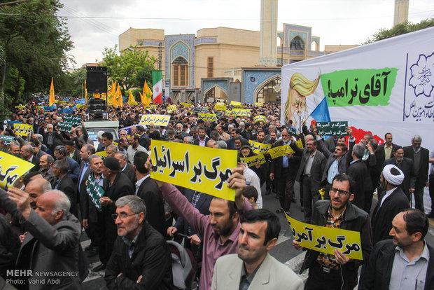 تظاهرات حاشدة في تبريز تشجب انسحاب امريكا من الاتفاق النووي