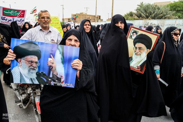 تظاهرات حاشدة في اهواز تشجب انسحاب امريكا من الاتفاق النووي