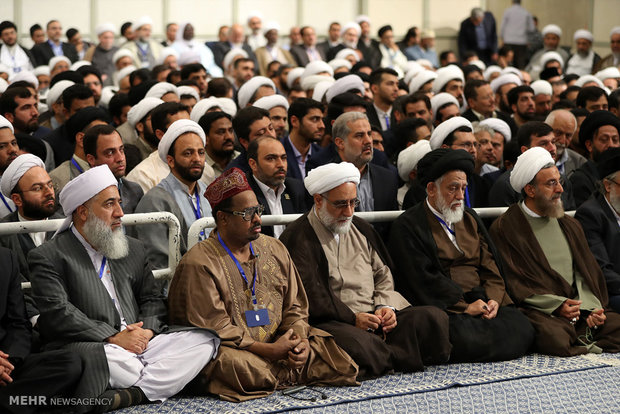 Leader receives participants at the International Congress on the Role of Shia in the Advent and Advancement of Islamic Sciences