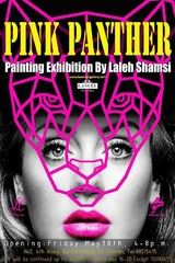 "Laleh Shamsi is displaying her latest painting collection entitled ""Pink Panther"" in an exhibition at Hoom Gallery."