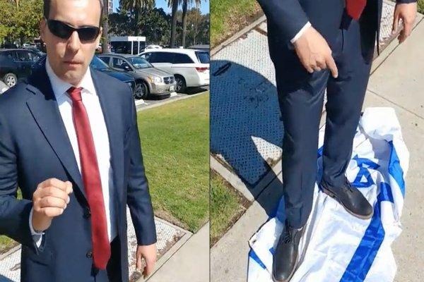 لگدمال شدن پرچم رژیم صهیونیستی از سوی نامزد سنای آمریکا