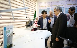 Iran's vice president for science and technology Sourena Sattari (2nd from right) visits first Iranian commercial drones innovation center on Monday