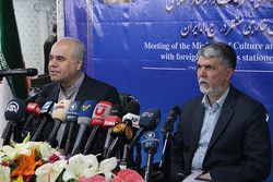 Culture Minister Seyyed Abbas Salehi (R) and Deputy Culture Minister for Press Affairs Mohammad Soltanifar attend a press conference in Tehran on May 30, 2018 to brief the foreign correspondents about