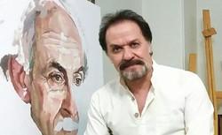 Painter Gholamali Taheri poses with a portrait of Persian poet Nima Yushij.