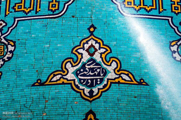 استبدال الراية وغسل القبة في مسجد جمكران المقدس