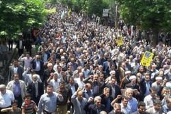 شعارهای حسینی در همدان طنین انداز شد/نمایش جلوه حمایت از فلسطین