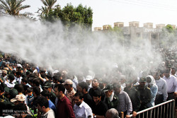 مراسم تشییع پیکر شهید خلیل تختی نژاد دومین شهید مدافع حرم استان هرمزگان