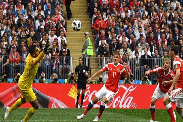 جام جهانی 2018 روسیه؛ پیروزی تیم ملی روسیه مقابل عربستان در نیمه نخست