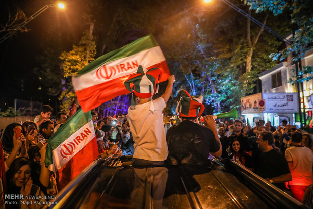 Tehranians celebrate victory over Morocco