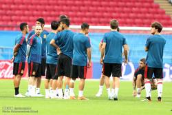 تمرین تیم ملی اسپانیا قبل از دیدار با تیم ملی ایران