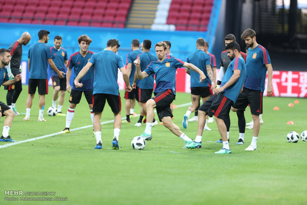 Spain's training session before meeting Iran