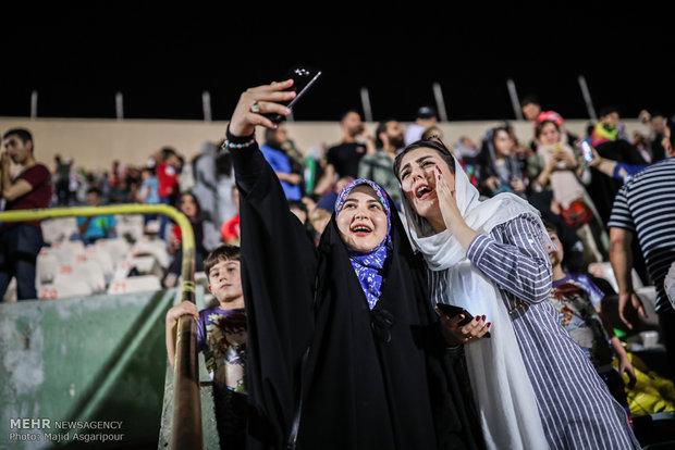 Families watch Iran-Spain match at Azadi Stadium