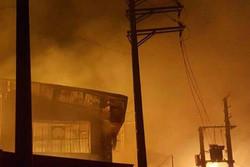 آتش سوزی انبار چوب بزرگراه آزادگان