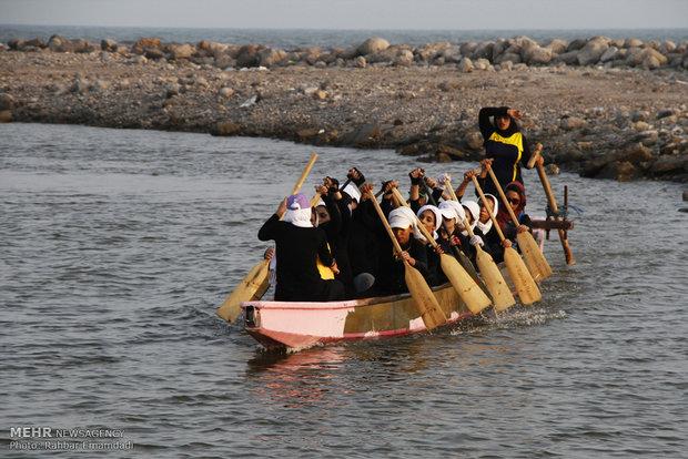 Dragon boat sailing in Persian Gulf waters