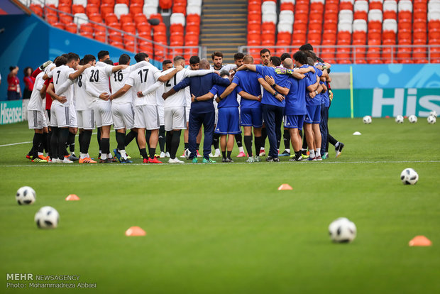 Iranian national team practicing for match against Portugal