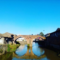 Under restoration: Historical bridge in Langarud