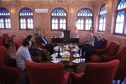 Armenian Ambassador Artashes Toumanian (2nd R) and Film Museum of Iran director Alireza Qasemkhan (3rd L) meet at the museum in Tehran on June 25, 2018. (Film Museum of Iran)