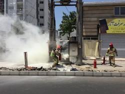آتش سوزی پست فشار قوی برق در اثر گرمای هوا