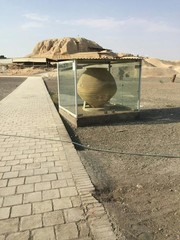 Pathway to Tappeh Sialk, a prime archaeological site in central Iran