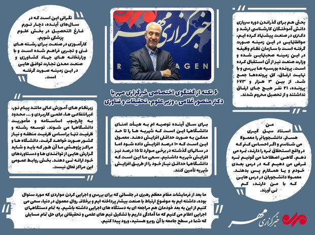 اینفومهر گفتگو با  منصور غلامی ، وزیر علوم، تحقیقات و فناوری