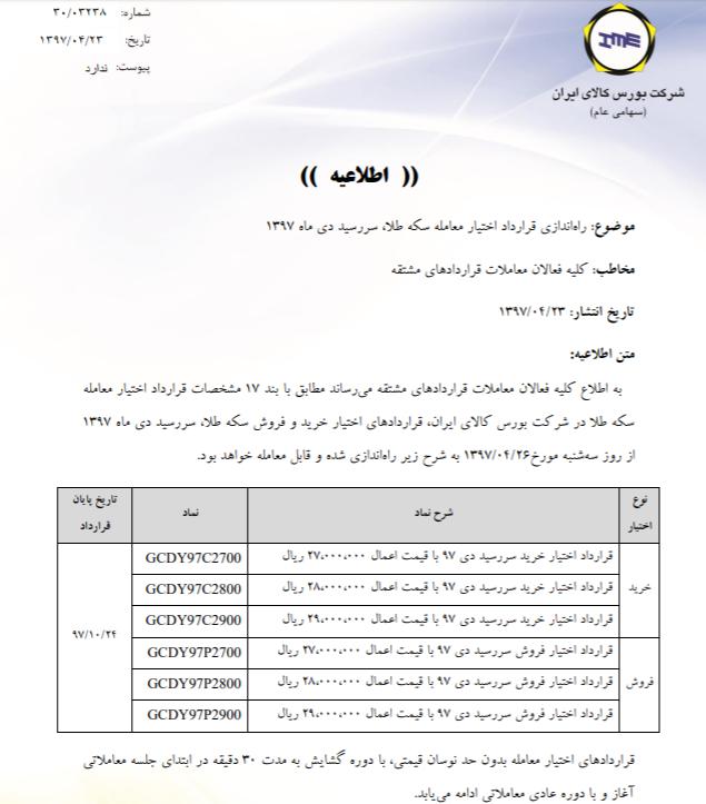 راهاندازی «قرارداد اختیار»معاملات سکه از سهشنبه 2832381