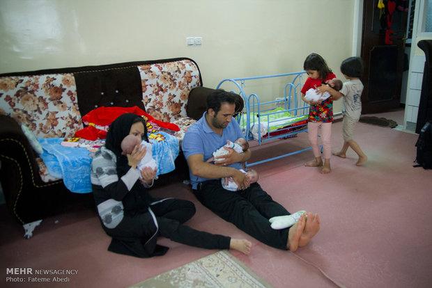 روزهای خانواده دلیخون پس از تولد پنج قلوها