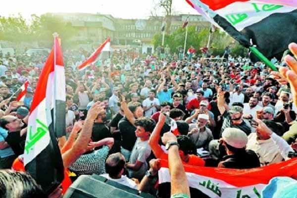 تظاهرات مردم عراق در مقابل ساختمان استانداری «ذی قار»