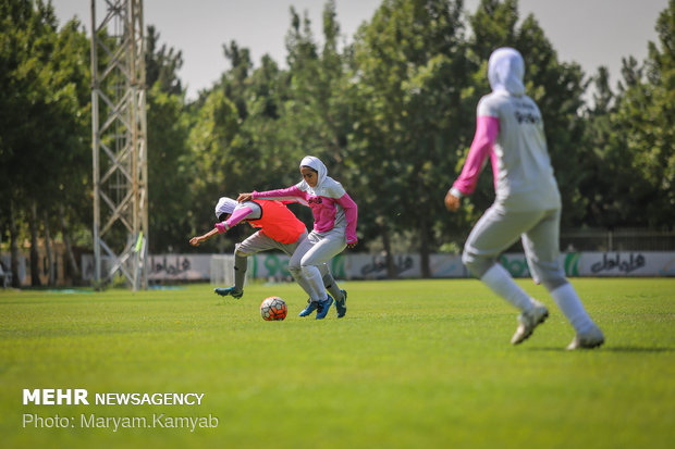 Iran women's U19 football team training session