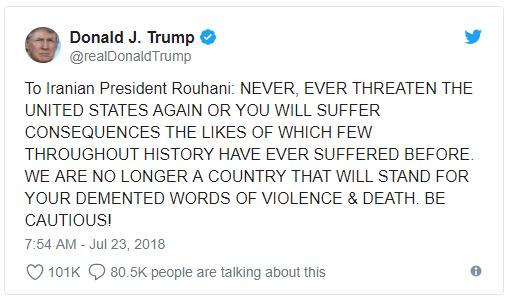 Trump Warns Iranian President 'Never Threaten the US'