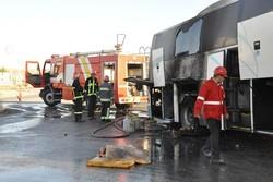 اتوبوس مسافربری تنکابن به مشهد دچار حریق شد/تلفات جانی نداشت