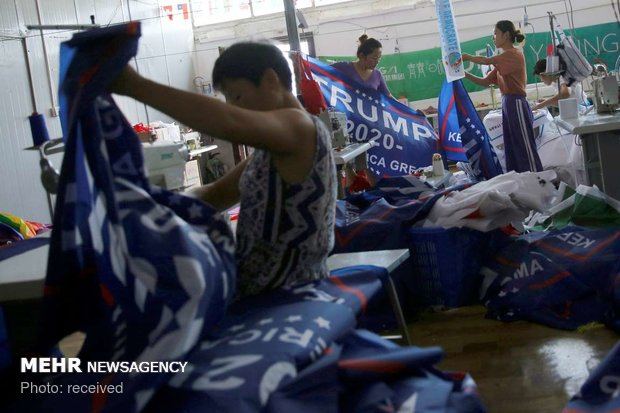 دوخت پرچم ها تبلیغاتی ترامپ در چین