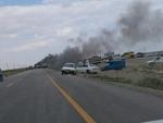 طوفان در آزادراه «قم- گرمسار» موجب تصادف زنجیره ای ۱۲ خودرو شد