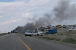 تصادف زنجیرهای در محور شاهرود - دامغان جاده را مسدود کرد