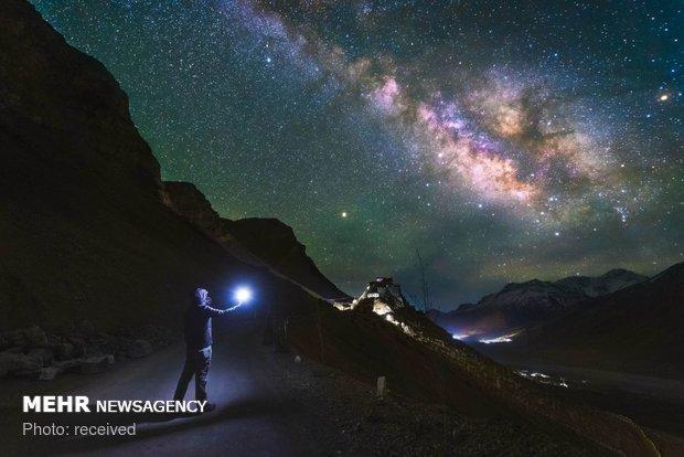 زیبایی آسمان شب در تبت