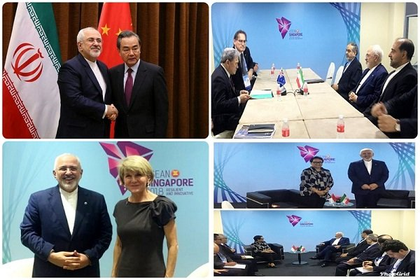 Zarif discusses regional, intl. issues with counterparts in Singapore